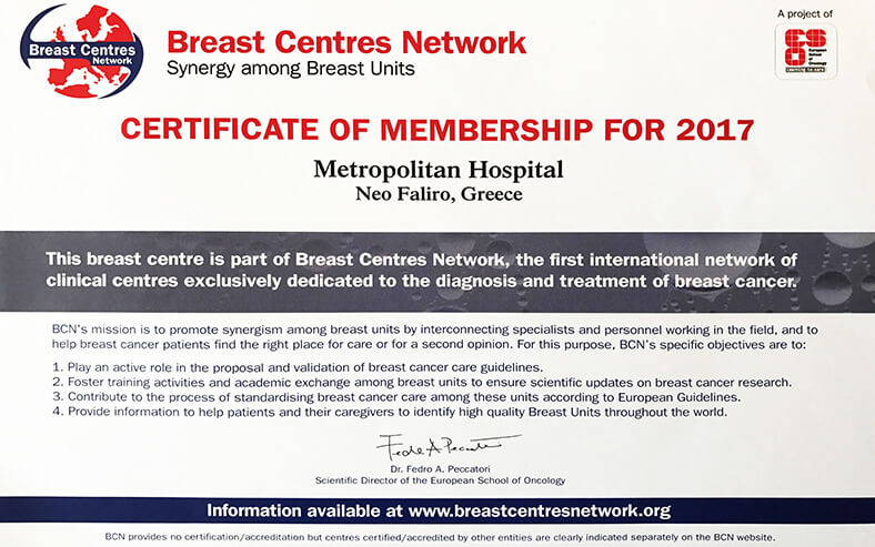 Certificate Of Membership 2017 Breast Centres Network