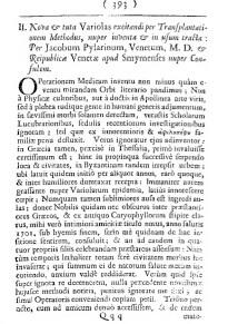 Η πρώτη σελίδα (σελ. 393) της εργασίας του Ιάκωβου Πυλαρινού για την εφαρμογή του 'ευλογιασμού'