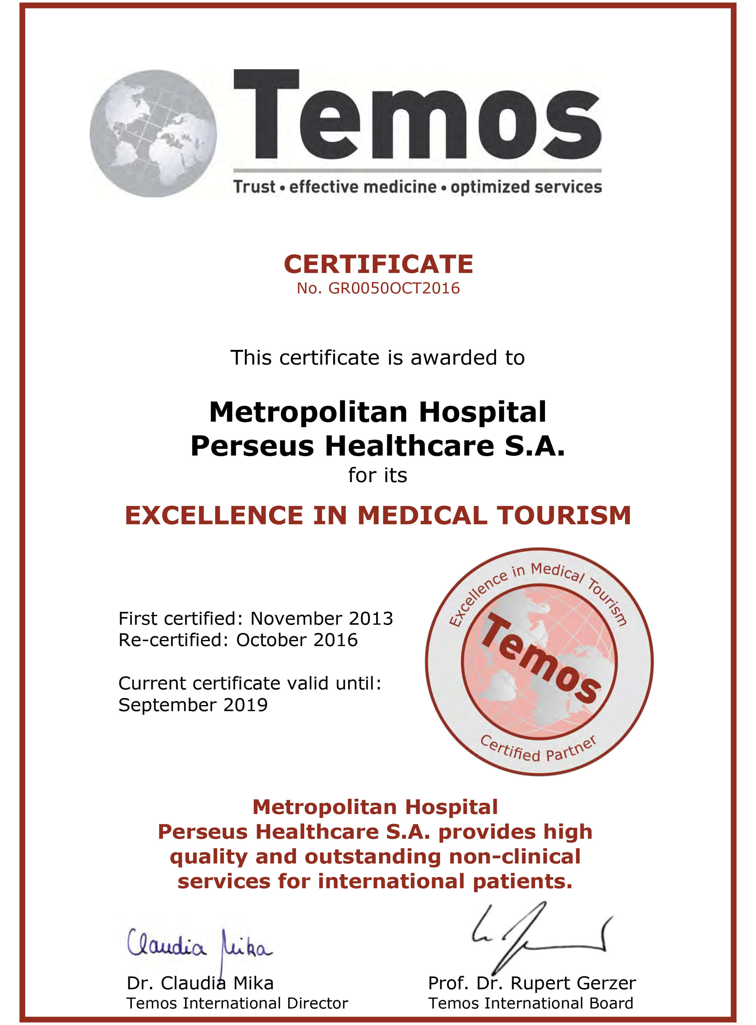 Temos Excellence Medical Tourism 2018